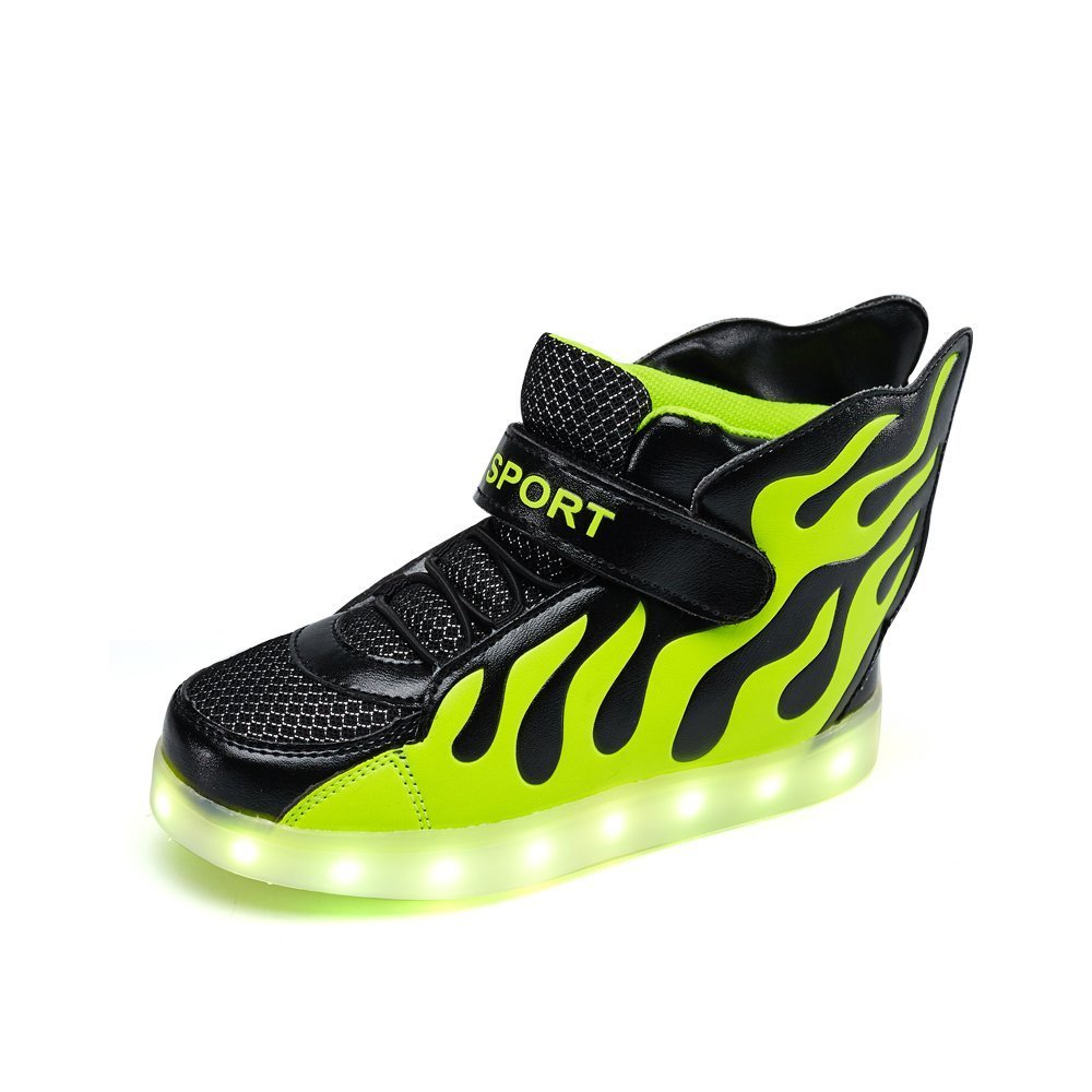 Multi-Color LED light up shoes for little boys&grils.(Green 10 M US Toddler)