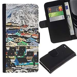 APlus Cases // Apple Iphone 4 / 4S // Esquí Montaña Casas colorido Arquitectura // Cuero PU Delgado caso Billetera cubierta Shell Armor Funda Case Cover Wallet Credit Card