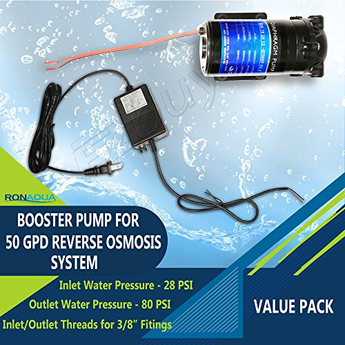 Reverse Osmosis 50 Gpd (Booster Pump with Transformer Adapter for 50 GPD Reverse Osmosis System)