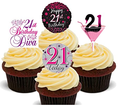 Made4You 21st Birthday Female Edible Cupcake Toppers