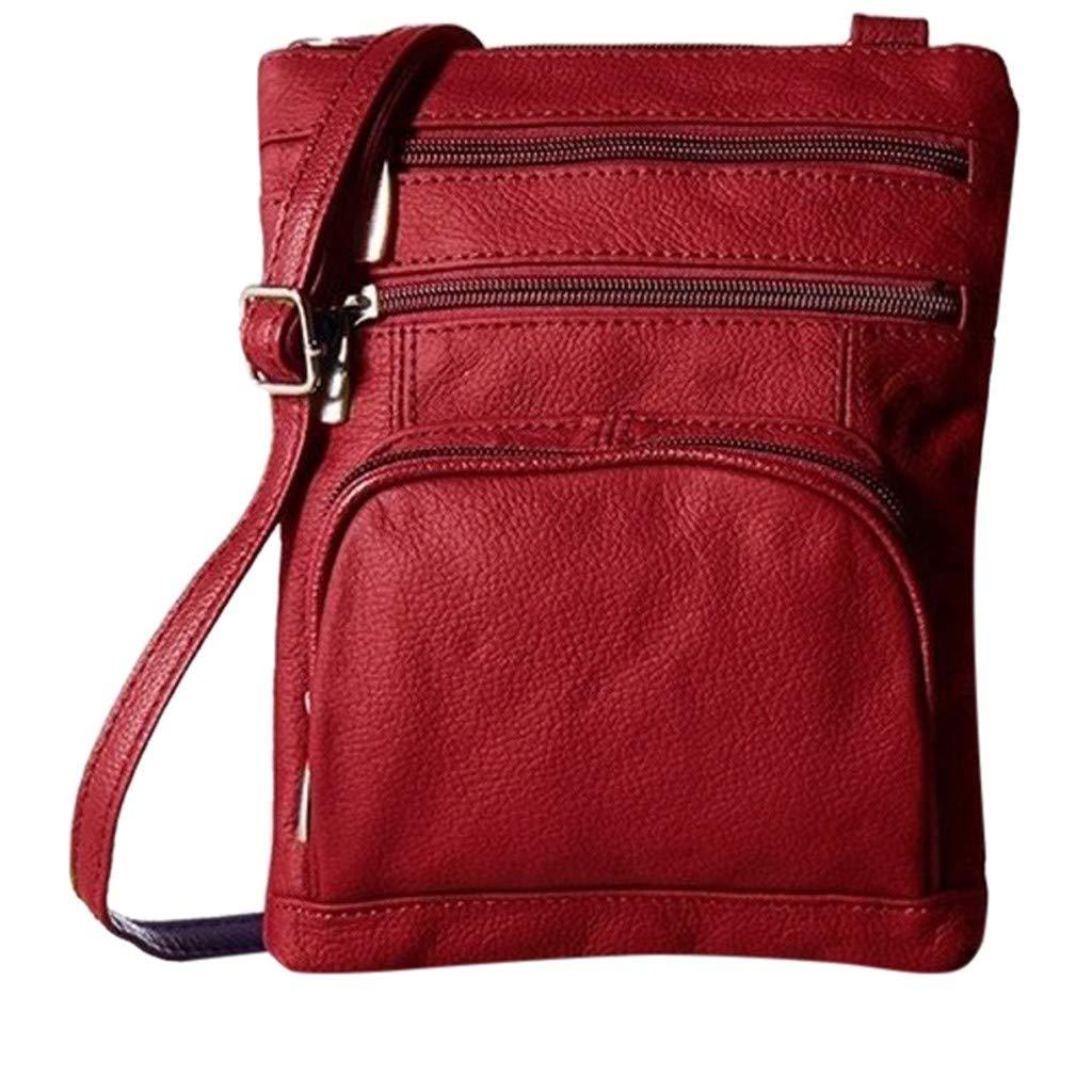ZOMUSAR Women Bag Women Men Functional Multi Pocket Crossbody Messenger Handbag Totes Shoulder Bags Wine