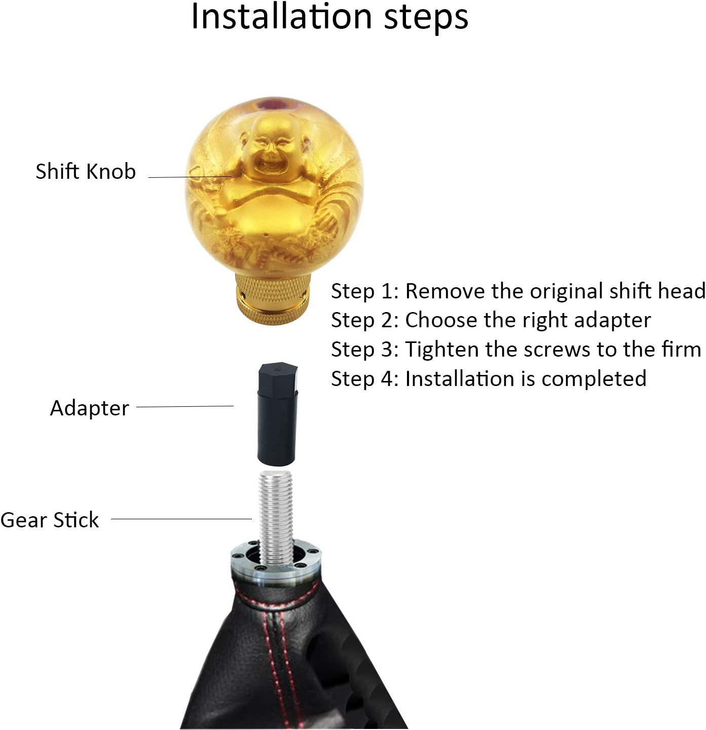 Bashineng Round Car Shifter Knob Gold Ball Style Gear Lever Stick Shift Head Fit Most Automatic Manual Vehicle