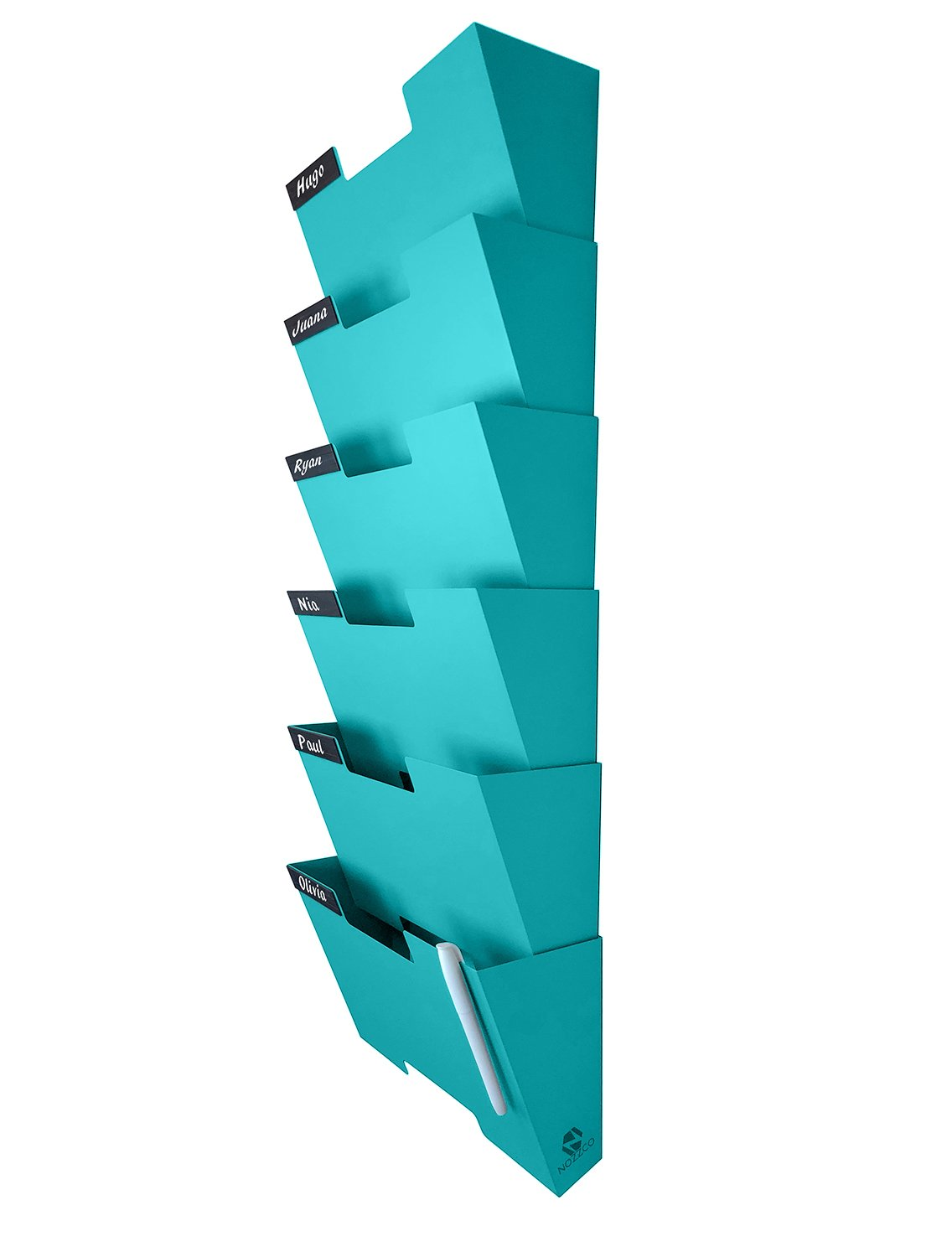 Wall Mount Hanging File Holder Organizer 6 Pack | Durable Steel Rack, Solid, Sturdy & Wide | for Letters, Files, Magazines & More | Organize The Desktop, Declutter Your Office - Nozzco (Blue, 6 Pack)