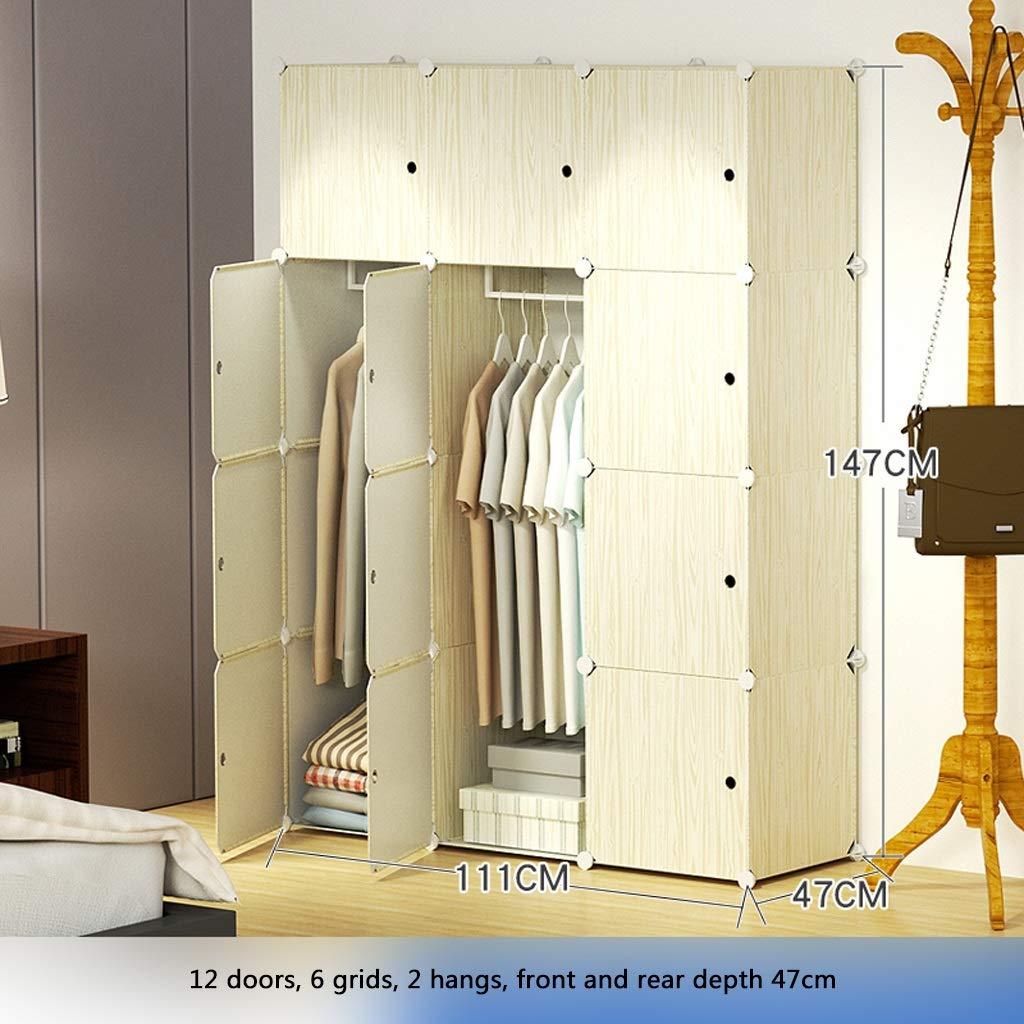 KKCD - ースには収納ケー ポータブルワードローブクローゼットモジュラー収納オーガナイザー省スペース戸棚深型キューブ吊りロッド12ドア クローゼッ (Color : A) B07STK7T46 A