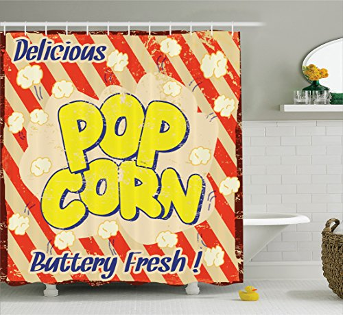 Ambesonne 1960s Decorations Collection, Popcorn Vintage Grunge Delicious Buttery Fresh Tasty Rusty Movie Advertising Film Image, Polyester Fabric Bathroom Shower Curtain Set with Hooks, Red Yellow by Ambesonne