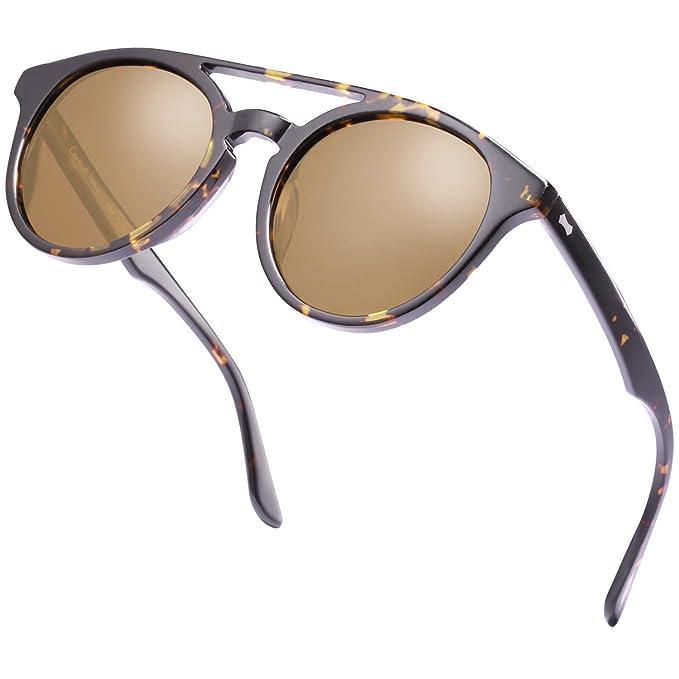Carfia Gafas de Sol Polarizadas hombre mujer Double Bridge Retro Unisex Estilo gafas Protección UV400 para