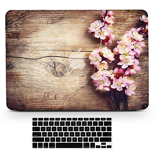 (Bizcustom MacBook Pro 13(2012-2015 Year) Wood Grain Pink Cherry Blossom Flower Floral Paint Hard Rubberized Shell Clear Bottom Case Keyboard Cover for MacBook Pro Retina 13 Old Model A1502/A1425)