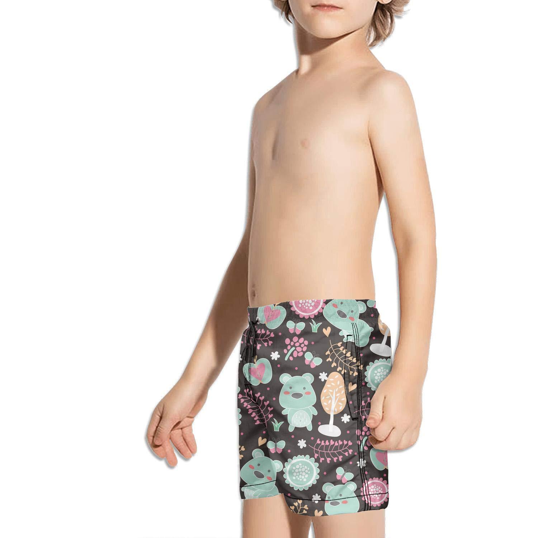 Kids Unisex Watercolor Animals Fox Bird Horse bear-01 Beach Swim Trunks Quick Drying Drawstring Shorts