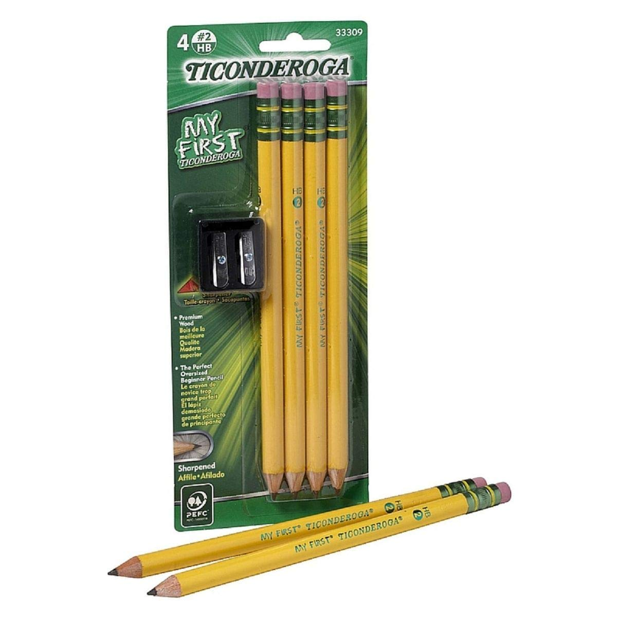 Ticonderoga My First #2 Pencils Kit with Sharpener 4 ea (Pack of 6) by Ticonderoga