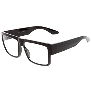 81ea72b628b sunglassLA - Oversize Horn Rimmed Wide Arms Clear Lens Square Eyeglasses  56mm  Amazon.co.uk  Clothing