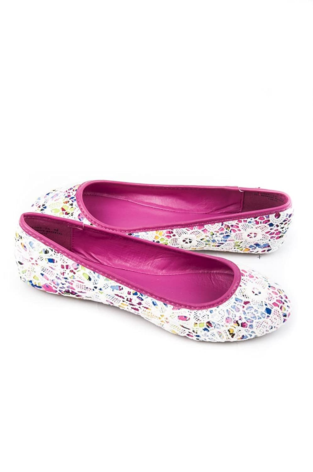 Bamboo Women's Floral Print Round Toe Crochet Slip On Flat Shoes