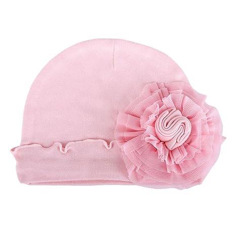 zhuotop recién nacido bebé Pure Hospital gorro infantil gorro de flores de lazo para mantener caliente
