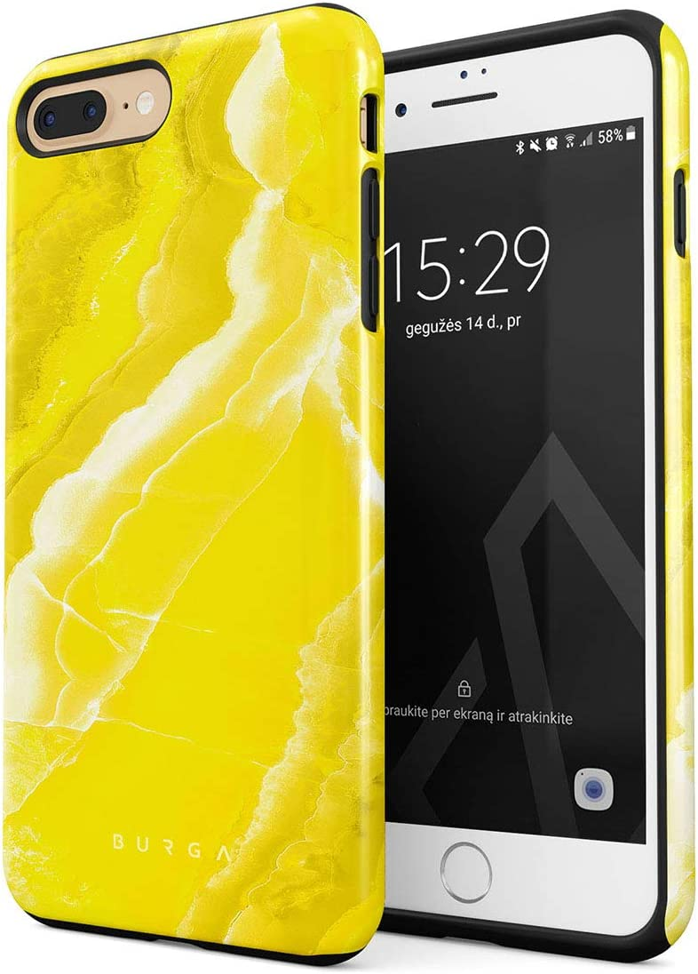 BURGA Phone Case Compatible With iPhone 7 PLUS / 8 PLUS - Neon Yellow Marble Citrus Stone Summer Vibes Vivid Bright Cute For Girls Heavy Duty Shockproof Dual Layer Hard Shell+Silicone Protective Cover