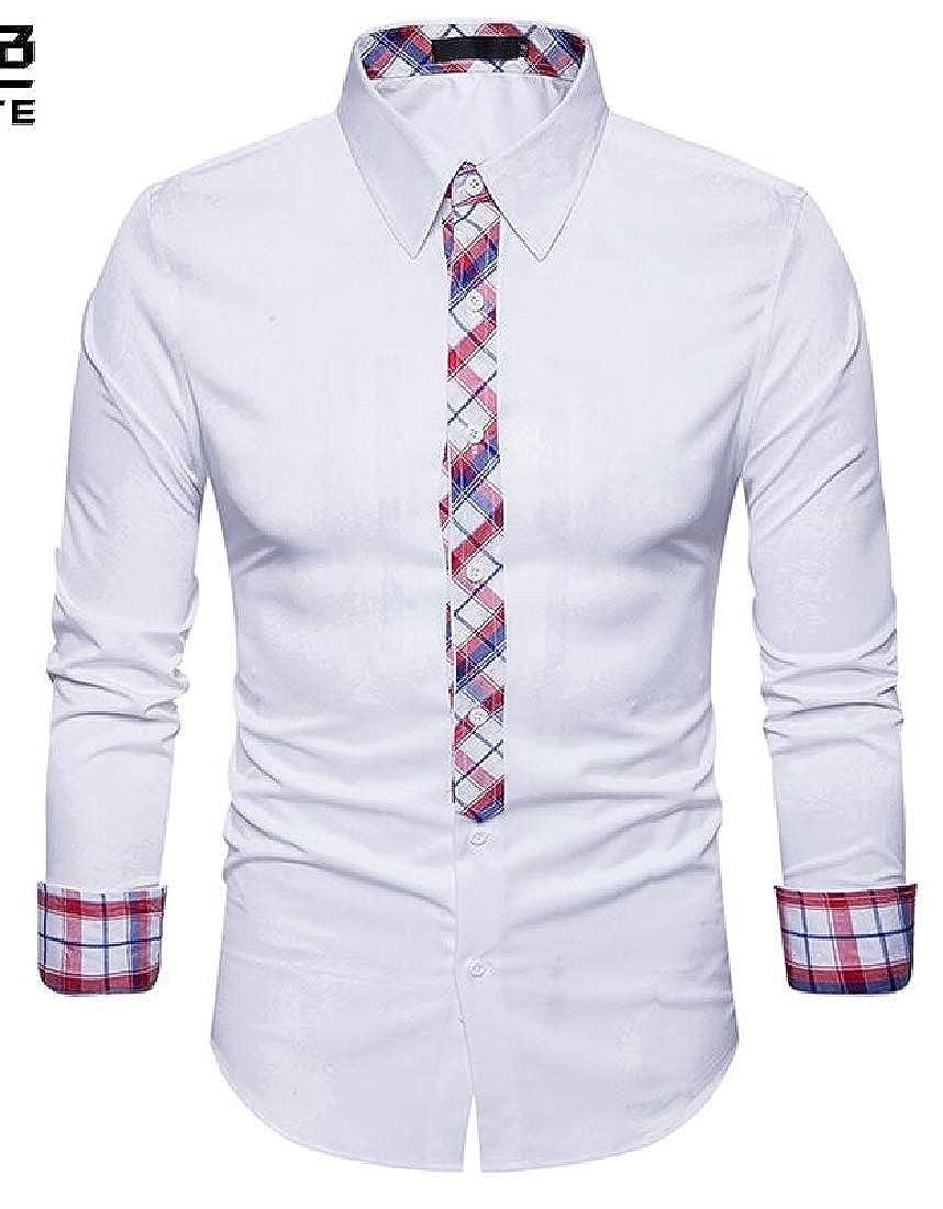 M/&S/&W Mens Fashion Button Up Shirt Contrast Casual Button Down Shirts