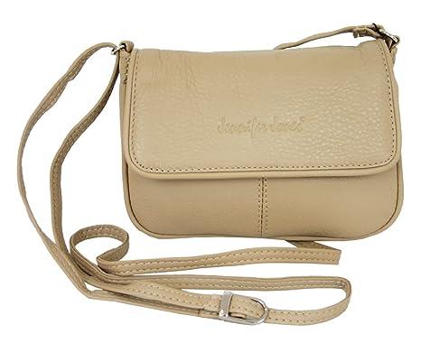 1306f7b114e69d Leder Damen Schultertasche Kleine Umhängetasche für Frauen Handtasche beige  auch crossbody bag kleine crossover Tasche (