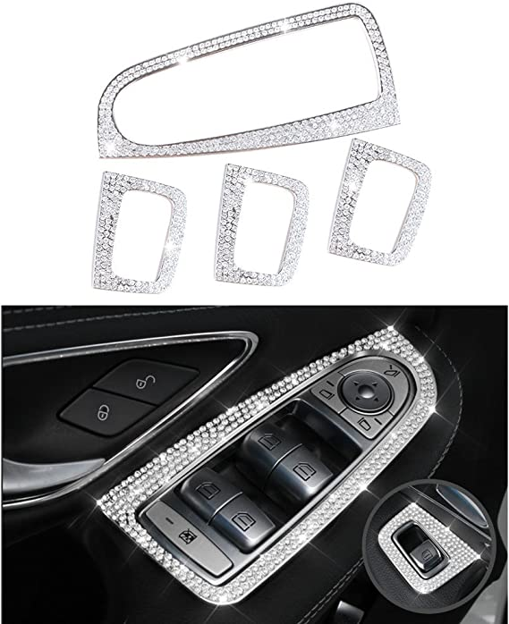 Carbon Fiber Black LANZMYAN Car Engine Start Stop Button Cover Trim for Mercedes Benz New C-Class GLC C200L GLA200L