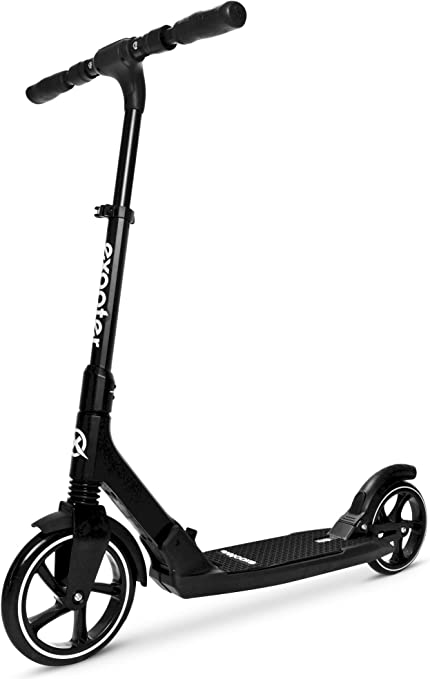 EXOOTER M7 Manual Adult Kick Scooter with Dual Suspension Shocks and 240mm/200mm Big Wheels.