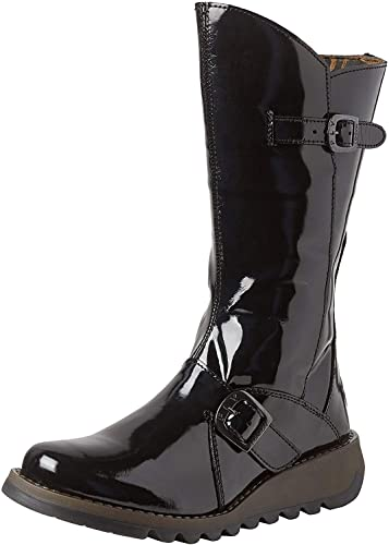 Fly London Mes 2 Black Patent Ankle Boots Shoes