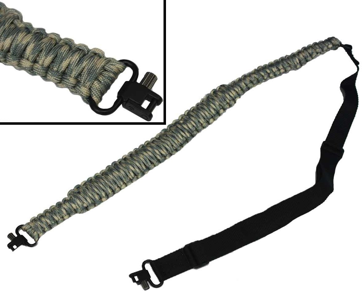 Ultimate Arms Gear 550 lb Paracord Survial Shotgun/Gun/Rifle Adjustable Strap Sling, ACU Army Digital Camo Over 56' ft Parachute Cord with Swivels Ends