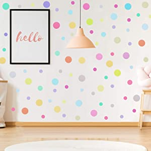 288 Pieces Polka Dots Wall Stickers Large Round Polka Dot Confetti Wall Decals Assorted Polka Dot Stickers for Baby Nursery Child Kid Boy Girl Bedroom Home Decor, 8 Sheets