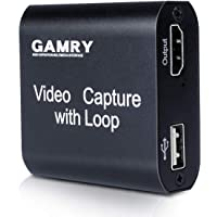 Tarjeta de Captura de Vídeo HDMI con Loop Out, 4K HD 1080P USB 2.0 para Transmisión en Vivo de Transmisión de Vídeo para…