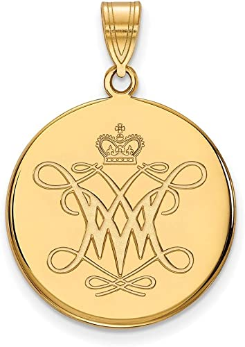 Roy Rose Jewelry 10K Yellow Gold LogoArt College of William And Mary Large Disc Pendant