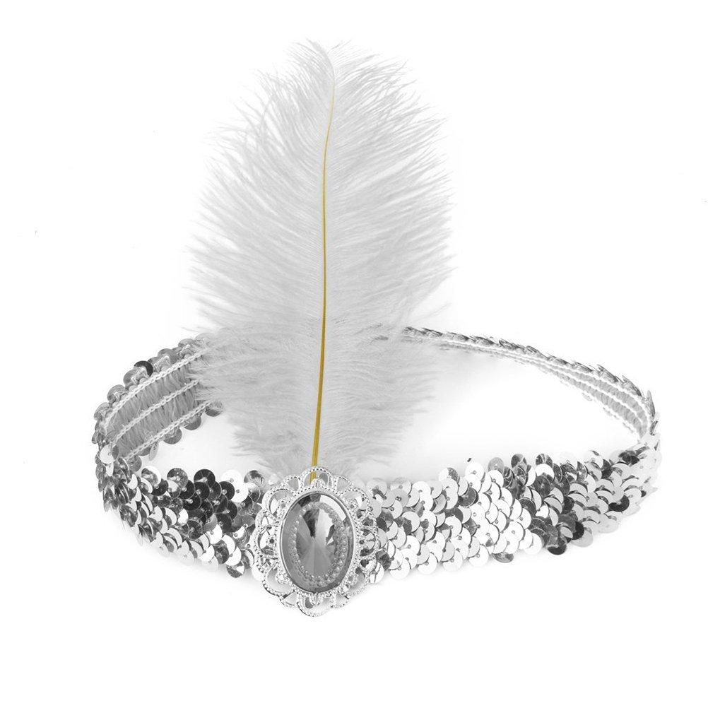 Plata LIOOBO Fiesta Diadema Pelo el/ástico Lentejuelas Diamante Pluma Indio Diadema Mujeres Disfraces Sombreros