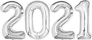 Silver 2021 Balloons Graduation Decor Set - Large, 40 Inch   2021 Graduation Balloons for Class of 2021 Decorations   2021 Balloons Silver for College Grad Party Decor   Graduation Decorations 2021