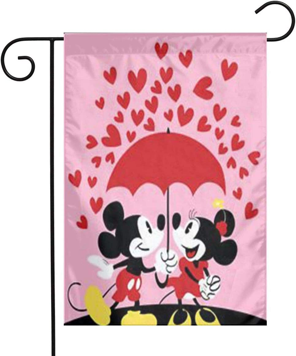 LYYTZ_id Mickey Mouse and Minnie Garden Flag Home Outdoor/Indoor Yard Flag 12 X 18 Inch