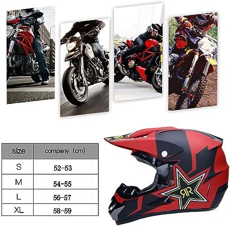 TKUI Casco Integral Casco de sombrilla Carretera Moto Full Cascos Motocross Casco Adulto Casco de Seguridad est/éreo Transpirable Incluye Gafas//Guantes//m/áscara