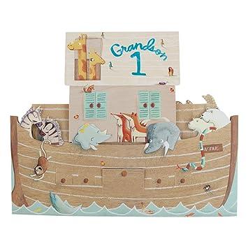 Hallmark 1st Birthday Card For Grandson Pop Up Boat Large Square