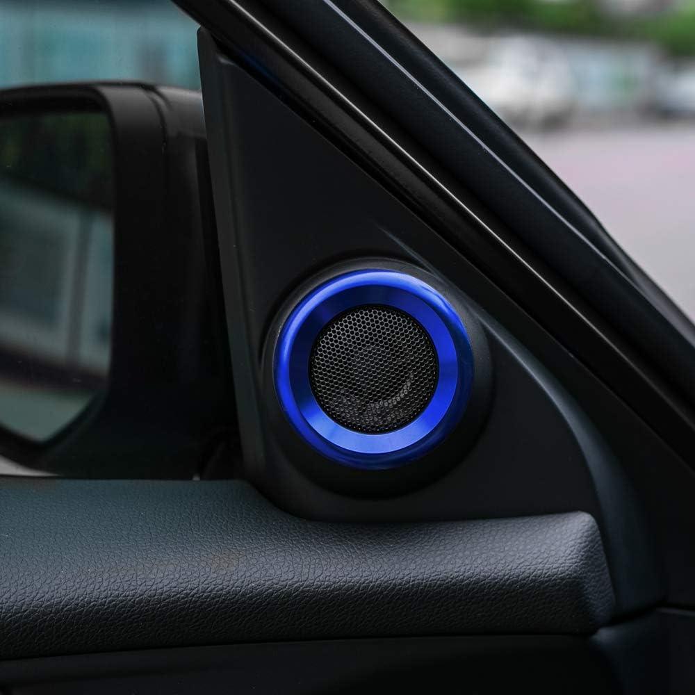 CKE Civic Aluminum Alloy Interior Door Audio Speaker Ring Cover Trim For 10th Gen Honda Civic 2020 2019 2018 2017 2016-Blue