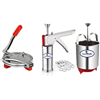 Track India Combo of Stainless Steel Kitchen and Puri Press with Mendu WADA Maker (Silver)