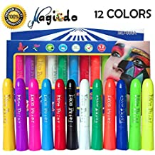 Magicdo 12 Cols Face Paint Crayons for Kids & Adults, Twistable Non-Toxic Professional Body Paint Stick Kit