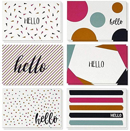 (48 Pack All Occasion Assorted Blank on The Inside Note Cards - Greeting Card Bulk Box Set - 6 Modern Hello Designs Notecards with Envelopes Included, 4 x 6 Inches)