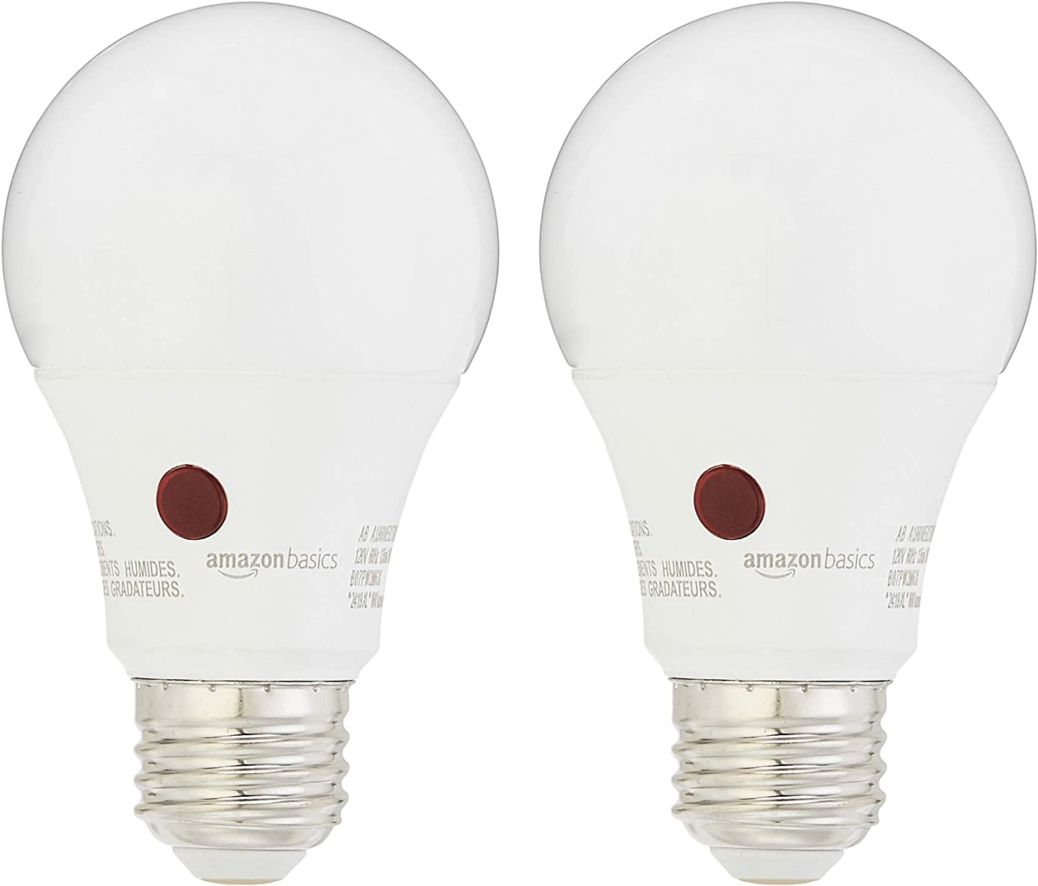 AmazonBasics 60 Watt Equivalent, Dusk to Dawn Sensor, Non-Dimmable, A19 LED Light Bulb | Soft White, 2-Pack