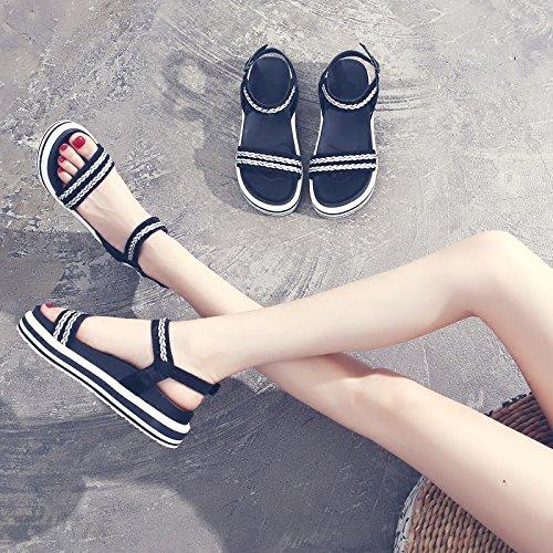 SOHOEOS Sandalias para Mujer Señoras Verano Nueva Roma Dreamgirl tiras de sandalias hebilla Plataforma Casual zapatos damas plataforma Negro