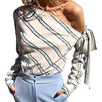 Aligmentpai - Camisa de manga larga con lazo y hombros descubiertos para mujer