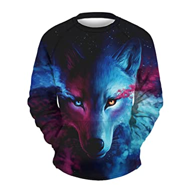 Apanqiqi Wolf Print O-Neck Sweatshirts For Men 3D Print Loose Sudadera Hombre Winter Medium
