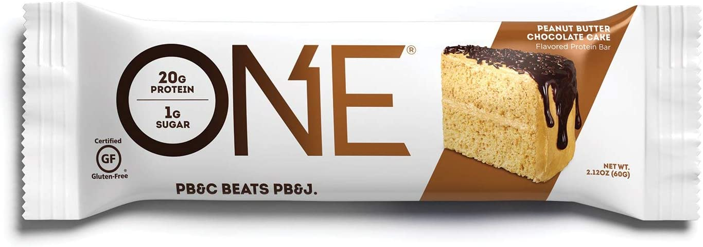 ONE Protein Bar, Peanut Butter Chocolate Cake, 2.12 oz., Gluten-Free Protein Bar with High Protein 20g and Low Sugar 1g , Guilt Free Snacking for Healthy Diets