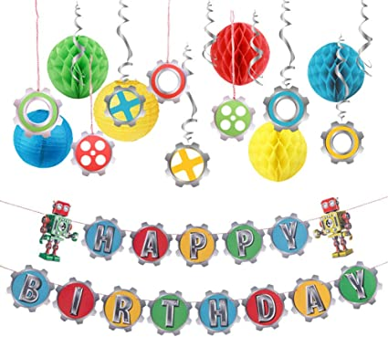 6 HANGING STRING DECORATIONS Foil  Multi Colours MILESTONE Birthday Party