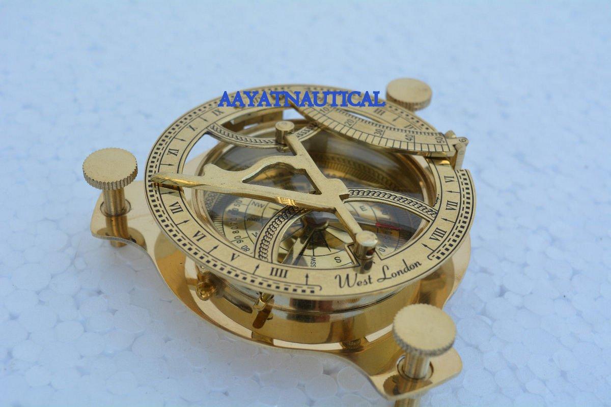 真鍮round-sundial-west-london-style-compass-antique-maritime-brassレプリカ B06W9HX85L