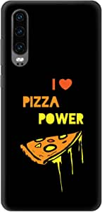 Stylizedd Huawei P30 Slim Snap Basic Case Cover Matte Finish - I Love Pizza (Black)