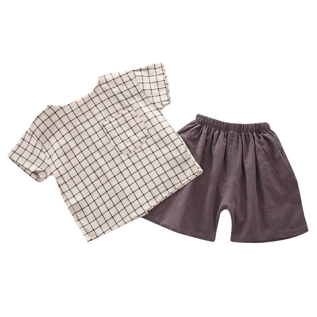 ❤️ Mealeaf ❤️ Toddler Kids Baby Boy Girl Grid T-Shirt Tops + Soild Shorts Outfits Set Clothes(Khaki,90)