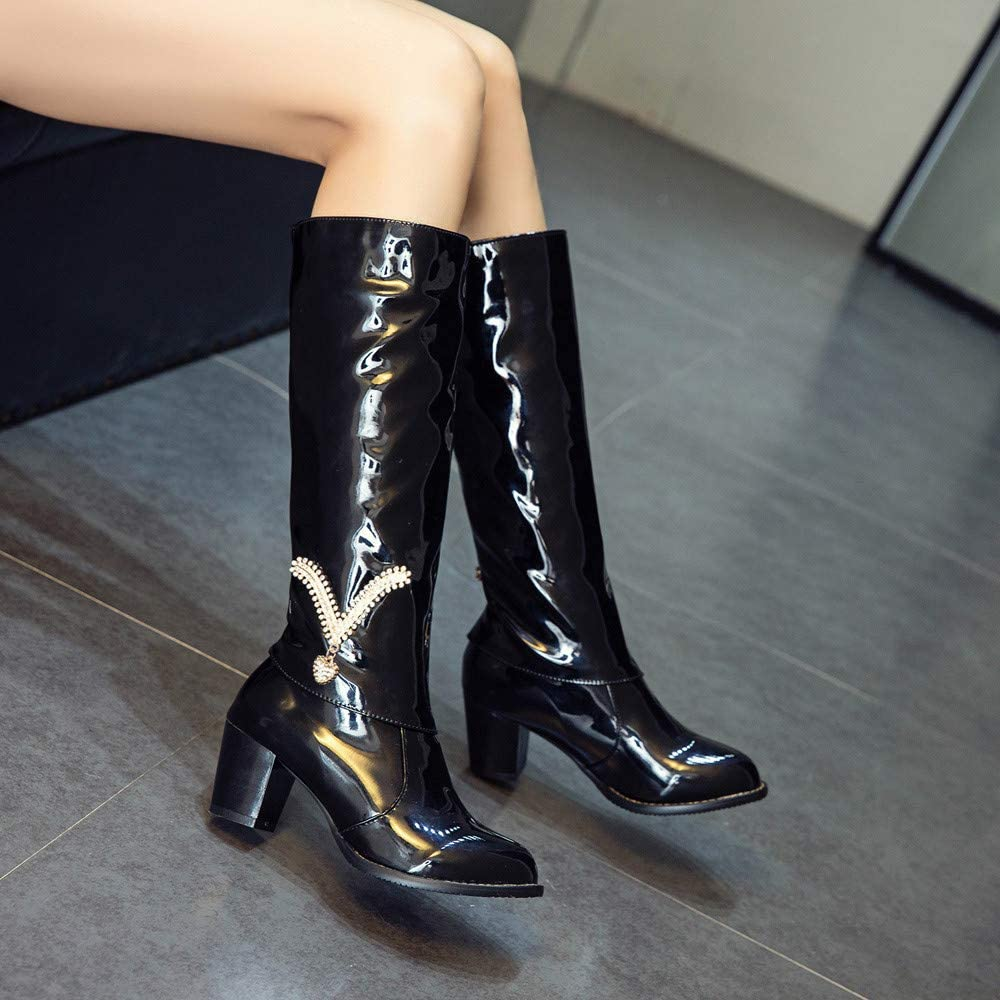 Limsea Women Middle Tube Boots Winter Rhinestone Solid High Heel Patent Leather Rubber Slip-On LimseaWM