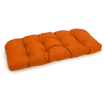 "Blazing Needles U-Shaped Solid Spun Polyester Tufted Settee/Bench Cushion, 42"" x 19"", Tangerine Dream : Patio Furniture Cushions : Home Improvement"