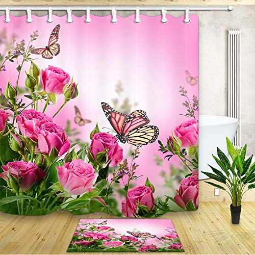 NYMB Flowers Shower Curtain for Bathroom, Butterflies of Spring Floral Spa House, 69X70in Fabric Bath Curtains with 15.7x23.6in Flannel Non-Slip Floor Doormat Entrance Mats Pink
