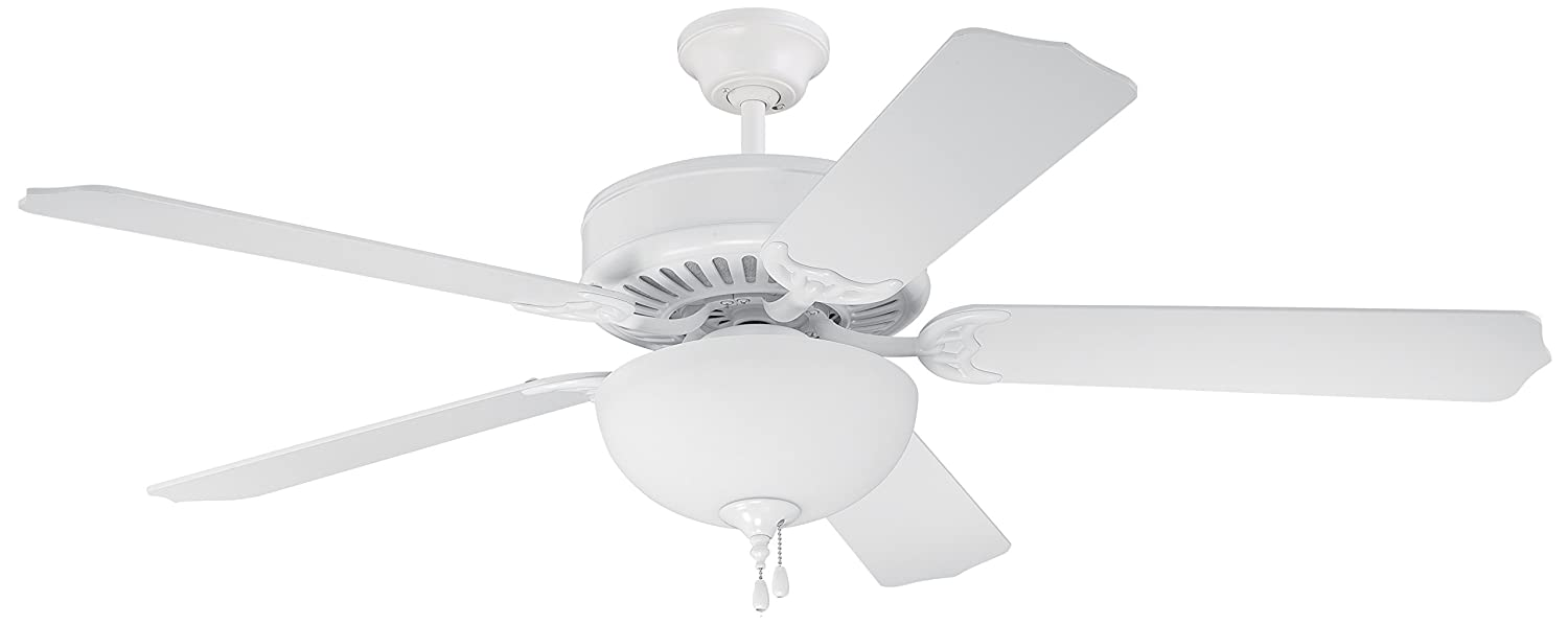 Craftmade C201W Downrod Flush Mount, 5 white Blades Ceiling fan, White