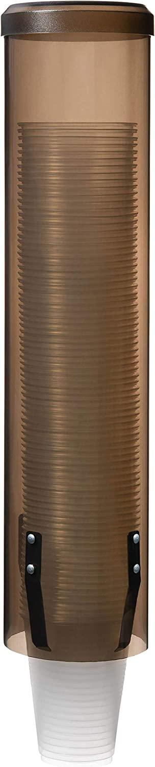 Janico 2013 Water Cup Dispenser Wall Mount Pull Type, Fits 4 to 10 oz Cone and Flat Bottom Cups, Brown