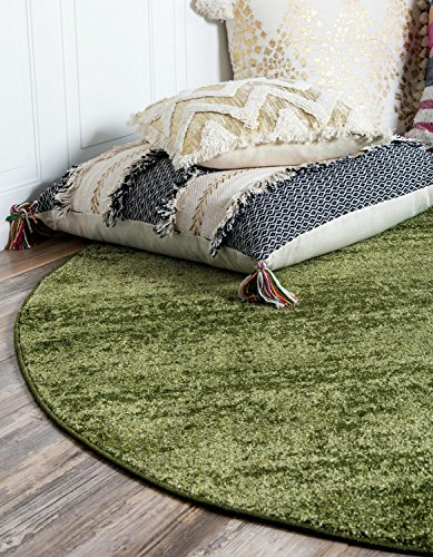 Contemporary Green - Unique Loom Del Mar Collection Contemporary Transitional Green Round Rug (6' x 6')